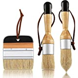 3 Pieces Chalk and Wax Paint Brushes Bristle Stencil Brushes for Wood Furniture Home Decor, Including Flat Pointed and Round Chalked Paint Brushes (Black)