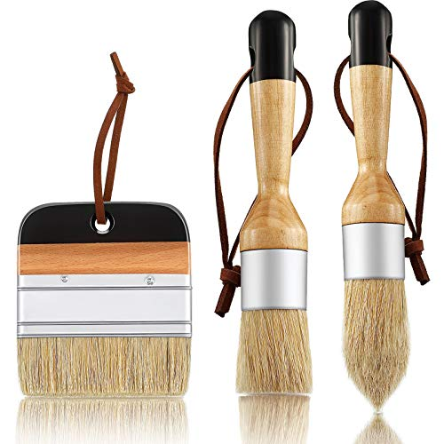 3 Pieces Chalk and Wax Paint Brushes Bristle Stencil Brushes for Wood Furniture Home Decor, Including Flat Pointed and Round Chalked Paint Brushes