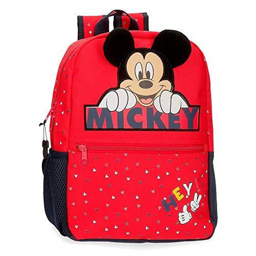 Disney Mochila Happy Mickey 32 cm Adaptable a Carro, Rojo