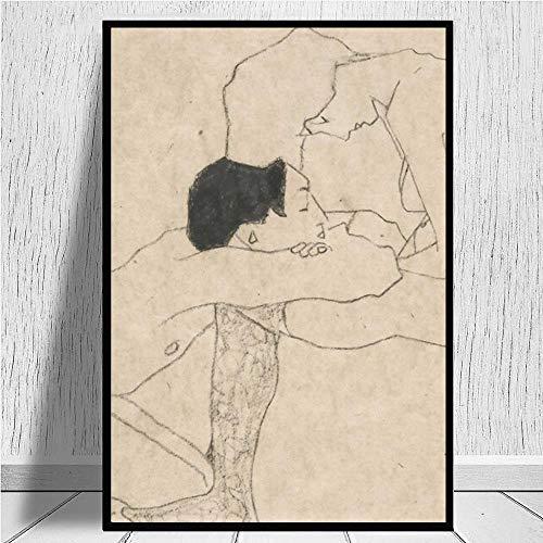 Egon Schiele Poster 《 Amanti,》 Famoso Quadri Opera d'Arte Vintage Parete Arte Astratta Arte Tela Stampe Parete Quadro per Soggiorno Camera Decorazioni 50x70cm Senza Cornice Y133