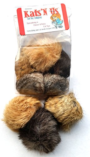 Real Rabbit Fur Pom Pom Cat Toy - 5 Pak Jumbo Size