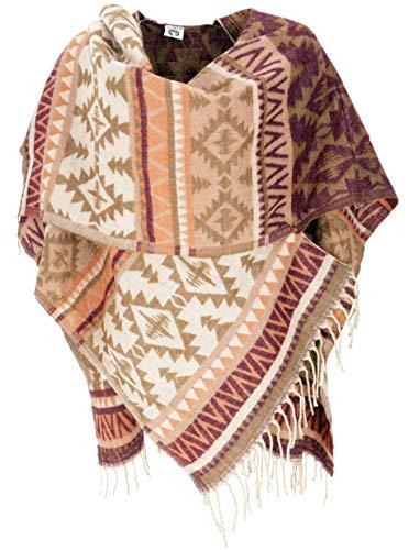 Guru-Shop Inka Ponchoschal, Poncho, Cape Schal, Damen, Braun/beige, Synthetisch, Size:40, Jacken, Mäntel & Ponchos Alternative Bekleidung