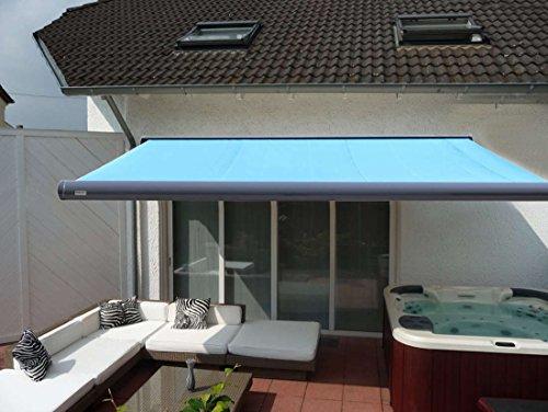 Prime Tech Elektrische Kassettenmarkise/Gelenkarm-Markise 500 x 300 cm Gehäuse anthrazit-grau/Tuch hell-blau / #492