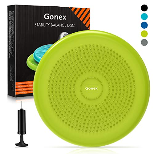 Gonex Balance Disc with Pump, 13.4 Inch Wiggle Seat for Sensory Kids or Adult Inflatable Wobble Cushion Disk Fidget Seat Stability Chair for Classroom Office Yoga Exercise, 1pc Yellow-Green