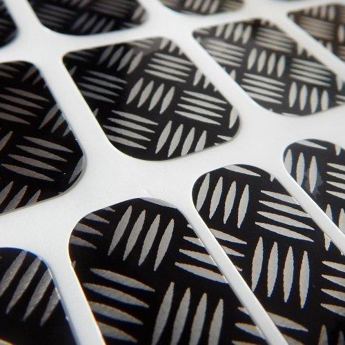 Chix Vernis à ongles en métal de style Chrome Beauté Minx doigts orteils en vinyle Foils Nail Wraps, Noir, Argent
