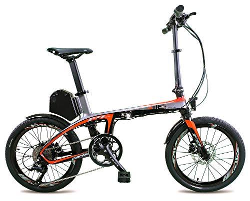 dme bike Bicicletta Elettrica Pieghevole in Fibra a Pedalata Assistita 20' 250W Suxive E6 Grigio/Rosso