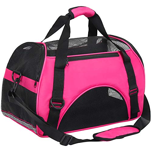 DAWOO Pet Carrier,Cat Carrier Airline-Approved Travel Pet Carrier,Dog Carrier,Suitable for Small and Medium-Sized Cats and Dogs (46 * 25 * 30cm, Rose Red)