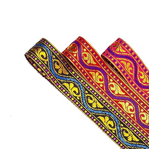 Impresionante cinta decorativa India Sari, 2 cm, rojo dorado, violeta y cereza. Ribete de cinta con patrón de jacquard indio, pero adorno de tacto suave. Cerise Pink, 16.4 meters
