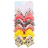 6 Pieces/Set 5 Inches Rainbow Printed Knot Ribbon Siwa Bows For Girls Handmade Boutique Hair Clips Children Hair Accessories (STYLE-2)