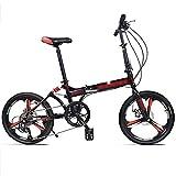 LYRONG 20 Pulgadas Plegable Bicicleta, 8 velocidades Marco de Acero al Carbono Bicicleta Plegable Street con Sillin Confort y Estante Unisex Adulto,Black-B