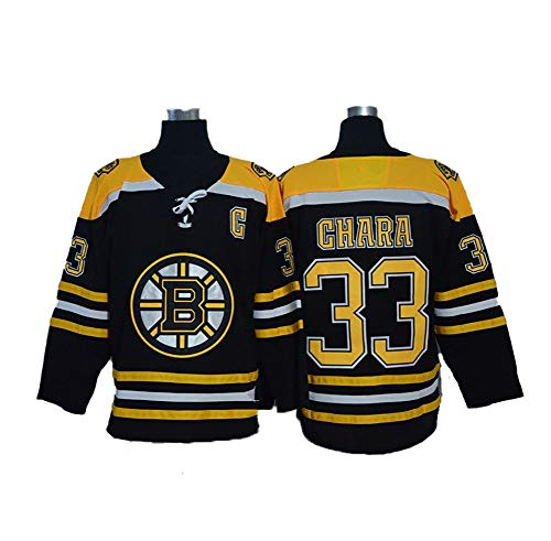 Yajun Zdeno Chara#33 Boston Bruins Eishockey Trikots Jersey NHL Herren Sweatshirts Atmungsaktiv T-Shirt Bekleidung,Black,2XL