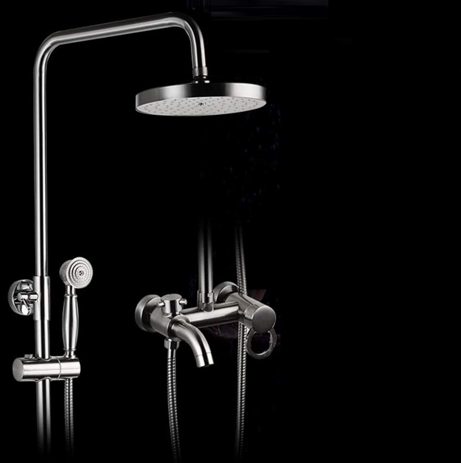 LWUDI Shower Systems with Rain Handheld, massaging shower head,Brushed stainless steel take a shower Set,Can lift bathroom Circular Shower Faucet,showerhead with shower