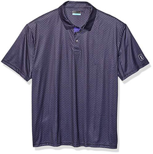 PGA TOUR Damen Short Sleeve Mini All Over Printed Polo Golf-T-Shirt, Kaviar mit Blattdruck, 4X