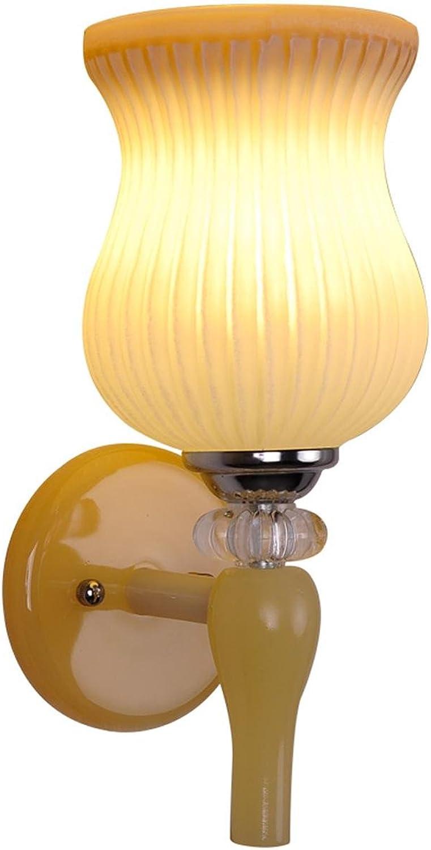 GRFH Moderne Kristallharz Jade LED Wandleuchte Wohnzimmer Glas Hintergrund Wand Lampe Schlafzimmer Kristall Nachttisch Lampe Korridor Gang Einzelkpfige Doppelkpfe Harz Wandleuchte Lightin, a