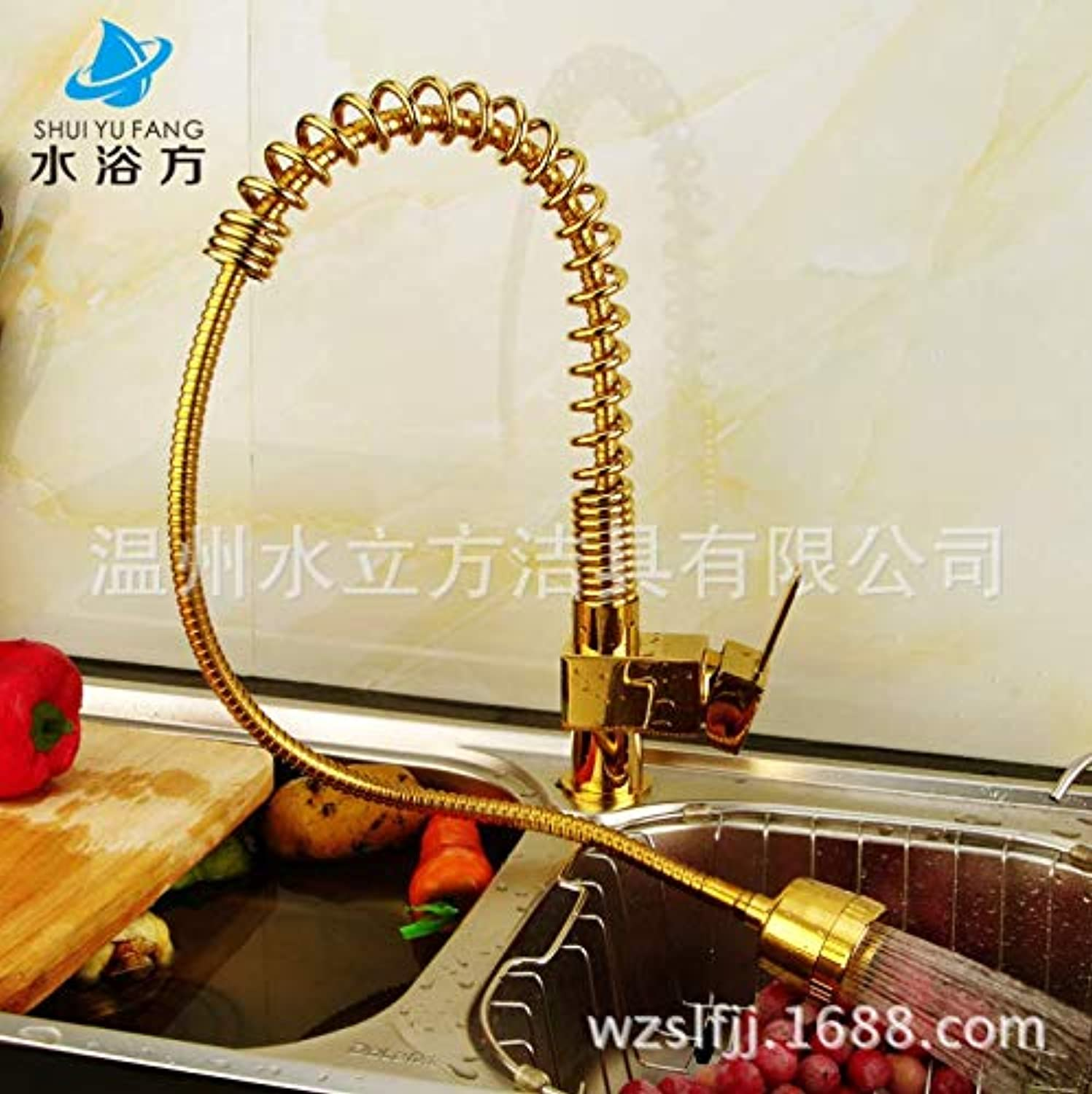 JONTON Copper single hole gold plated spring pullable kitchen sink hot and cold water faucet sink can be redated European