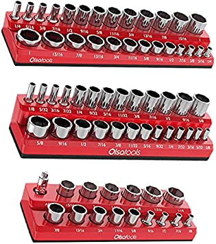Olsa Tools Magnetic Socket Organizer | 3 Piece Socket Holder Kit | 1/2-inch, 3/8-inch, & 1/4-inch Drive | SAE Red | Holds 68 Sockets | Professional Quality Tools Organizer: image
