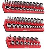 Olsa Tools Magnetic Socket Organizer | 3 Piece Socket Holder Kit | 1/2-inch, 3/8-inch, & 1/4-inch Drive | SAE Red | Holds 68 Sockets | Professional Quality Tools Organizer