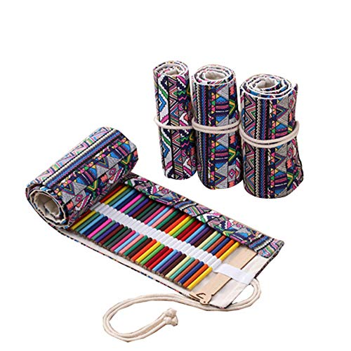 Handmade Canvas Pencil Wrap Roll up Case Holder Bohemian style Travel Drawing Sketching Coloring Pencil Roll Organizer 72 Slot(NO Pencil Included)