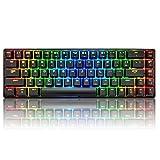 60% RGB Mechanical Gaming Tastatur Typ C verkabelt 68 Tasten 18 RGB Hintergrundbeleuchtung USB Wasserdichte Tastatur Anti-Ghosting-Tasten für Spieler und Schreibkräfte (Schwarz / Blau-Schalter)