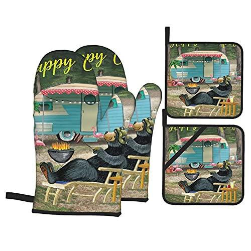 SUDISSKM Oven Mitts and Pot Holders Sets,Bear Happy Camping Theme Cartoon Kids,Anti-scalding Heat...