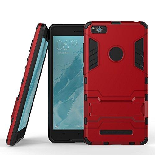 Hülle für Xiaomi Mi 4i / Mi 4C (5 Zoll) 2 in 1 Hybrid Dual Layer Shell Armor Schutzhülle mit Standfunktion Hülle (Rot)