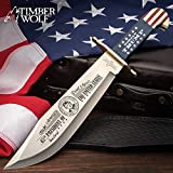 Timber Wolf Limited Edition Trump Bowie Knife and Sheath - Stainless Steel Blade, Wooden Handle Scales, Brass Guard - Length 16'