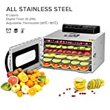 Kwasyo Stainless Steel 6 Tray Food Dehydrator BPA-Free, 30~90℃ Temperature Setting, Max 24h, Fruit Dryer Machine with Free Recipe Book, Dehydrator Machine for Fruit, Vegetables, Meats and Chili-400W