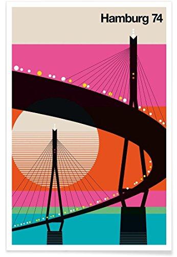 """JUNIQE® Retro Hamburg Poster 60x90cm - Design """"Hamburg 74"""" entworfen von BO Lundberg"""