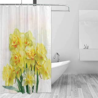 Daffodil Decor Rustic Shower Curtain Digital Watercolors Paint of Daffodils Bouquet Called Jonquils in England Lent Lily Farmhouse Bathroom Decor W48 x L72 Inch Yellow Green
