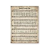 Jesus Loves Me Vintage Hymn Partituras Cartel e impresión Christian Nursery Wall Art Lienzo Pintura Niños Canción Infantil Decoración (40x60cmx1 / sin Marco)