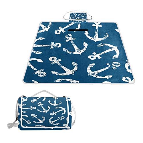 TIZORAX Picknickdecke Grunge weiß Anker Wasserdicht Outdoor Decke Faltbare Picknick Handliche Matte Tragetasche für Strand Camping Wandern