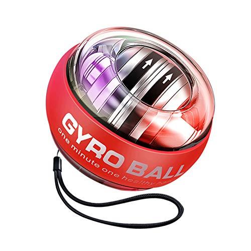 MARXIAO Power Wrist Ball Ejercicios Automáticos De Muñeca Force Ball Giroscopio Ball Gyro Entrenador De Muñeca Gyro Ball Giroscopio Bola para Agarre De Mano Muñeca Fortalecimiento del Antebrazo,Rojo