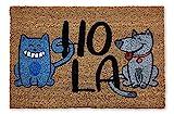 KOKO DOORMATS felpudos Entrada casa Originales, Fibra de Coco y PVC, Felpudo Exterior Gato Y Perro Hola, 40x60x1.5 cm | Alfombra Puerta Entrada casa Exterior | Felpudos Divertidos para Puerta
