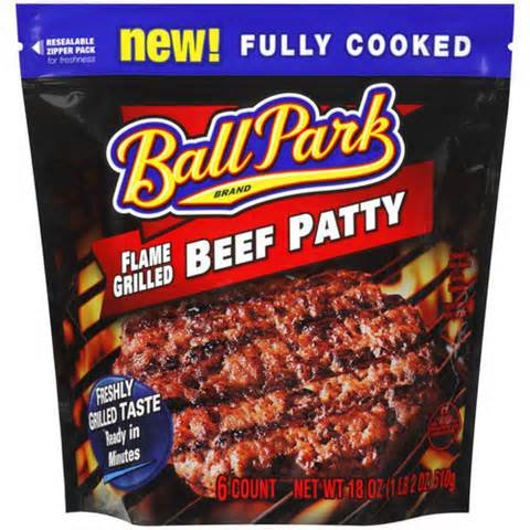 BALL PARK PATTIES BEEF FLAME GRILLED ORIGINAL 18 OZ PACK OF 2