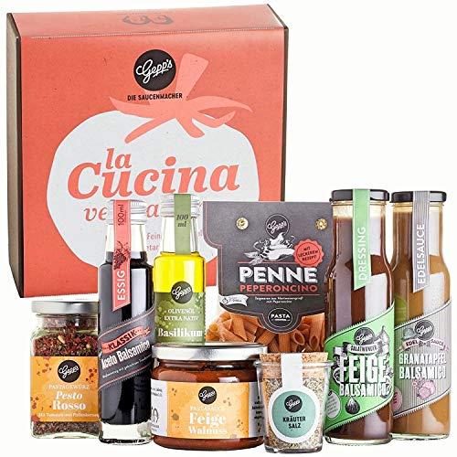 Gepp's Feinkost Vegetarische Italien Box I Geschenkbox gefüllt mit veganen & vegetarischen, italienischen Delikatessen, hergestellt nach eigener Rezeptur I Gourmet-Geschenk für Männer & Frauen