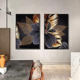 Decoración nórdica para el hogar, lienzo, arte de pared, moderno, abstracto, línea dorada, flor, arte, pintura y póster, cuadro de decoración para sala de estar, 20x30cm (7.87x11.81in) x2 sin marco