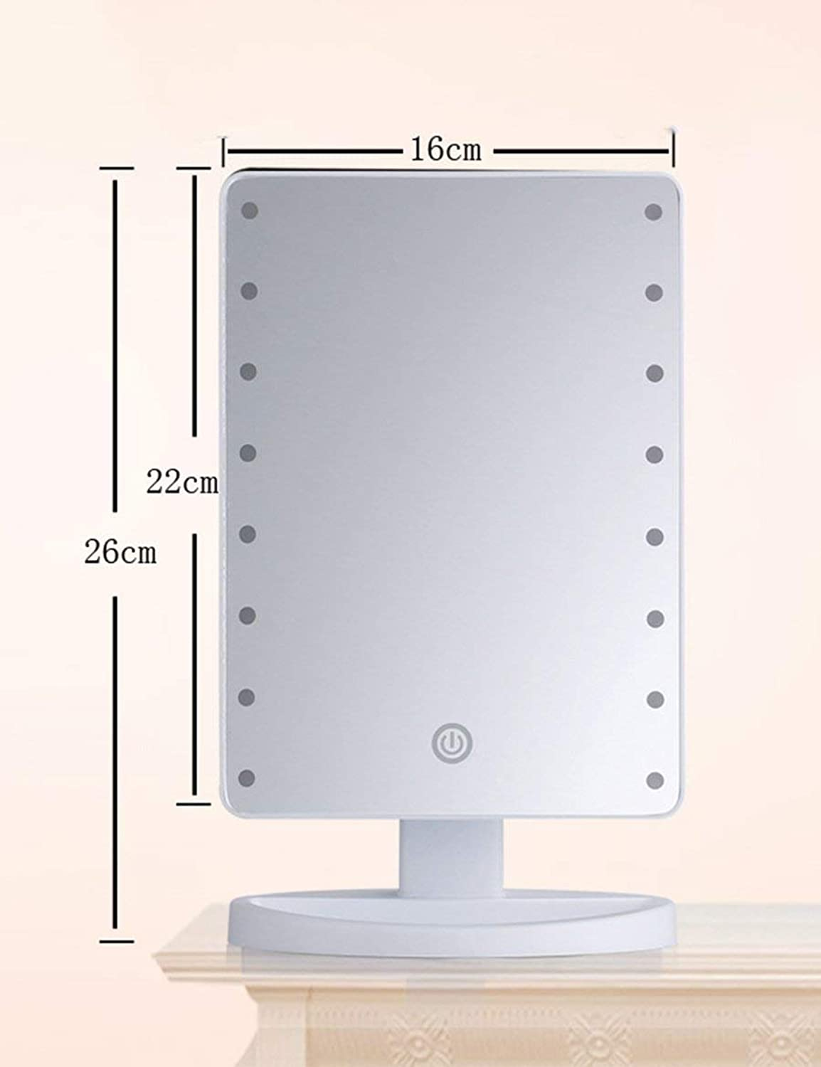 Portable Mini LED Mirror Cute Princess Square of Portable Office Mirror Mirror The Vanity with Mirror of The Light Suitable for Bedroom and Bathroom (1) color
