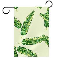 ガーデンヤードフラッグ両面 /12x18in/ ポリエステルウェルカムハウス旗バナー,熱帯のヤシの葉
