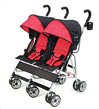 Kolcraft Cloud Lightweight and Compact Double Umbrella Stroller Red/Black