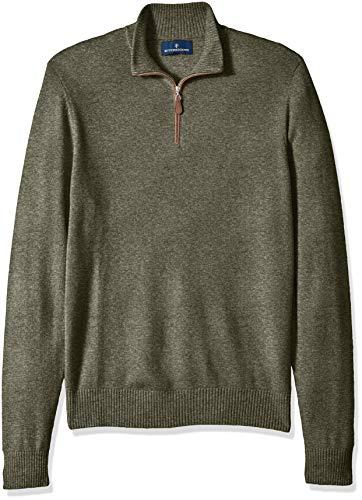 Amazon Brand - BUTTONED DOWN Men's 100% Premium Cashmere Quarter-Zip Sweater, Olive, Large