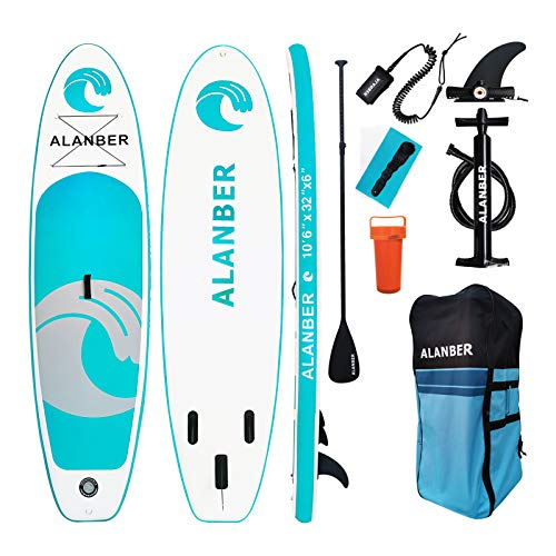 "ALanber Inflatable Sup Stand Up Paddle Board 10'6""x32""x6"" Ultra-Light (17.6lbs) - Non-Slip SUP with Backpack, Adj Paddle, Safety Leash & Hand Pump in River, Oceans and Lakes"