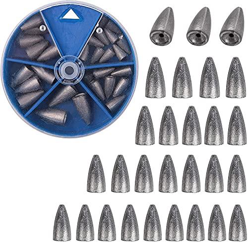 OROOTL Angelgewichte Angelzubehör Set, Angelblei Carolina Rig Texas Rigs Gewichte Angeln Sinker, 29 STK mit Box 5 Größen