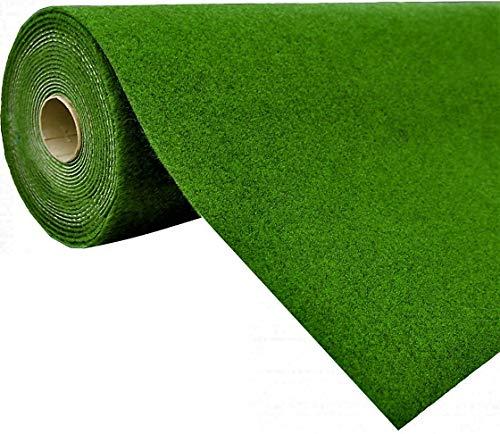 Rasenteppich Kunstrasen mit Noppen Grün | Höhe: 5,5 mm | Gewicht: 1.150 g/m² - schadstoffgeprüft wasserdurchlässig wetterfest | Meterware Balkon Terrasse Camping, Farbe:Grün, Größe:133 x 350 cm