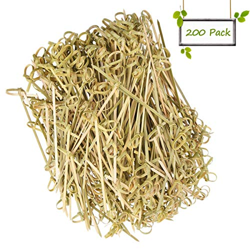 "DC-BEAUTIFUL 200 Pack Natural Bamboo Knot Skewers, 6 Inch Bamboo Twisted End Cocktail Picks, Appetizer Picks for Party Snacks Club Sandwiches Finger Food Barbecue Must (6.0"")"