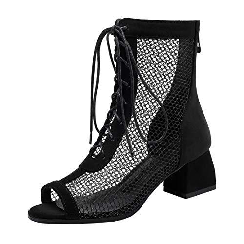 MISSUIT Damen Peeptoe Sommer Stiefeletten Mesh Blockabsatz Ankle Boots mit Schnürung Cut Out Schuhe(Schwarz,38)