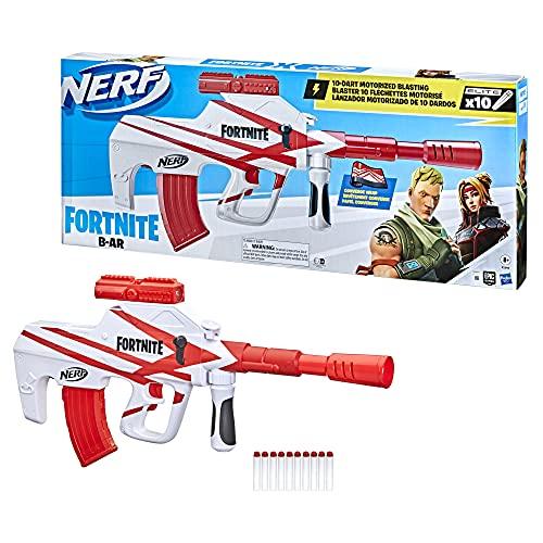 NERF Fortnite B-AR Motorized Dart Blaster -- Fortnite Converge Wrap, Motorized 10-Dart Blasting, 10-Dart Clip, 10 Official Elite Darts