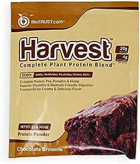 BioTrust Harvest Complete Plant Protein Powder - Dairy-Free & 100% Vegan Protein Powder - non-GMO & Soy-Free with Hemp & Pea Protein Single Serve - Chocolate Brownie