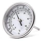 """Calibre PIC B3B4-DD 3"""", tamaño de la esfera, 25/125° F y -4/52°C, longitud del tallo, conexión de ángulo trasero, caja de acero inoxidable, termómetro bimetálico 316"""