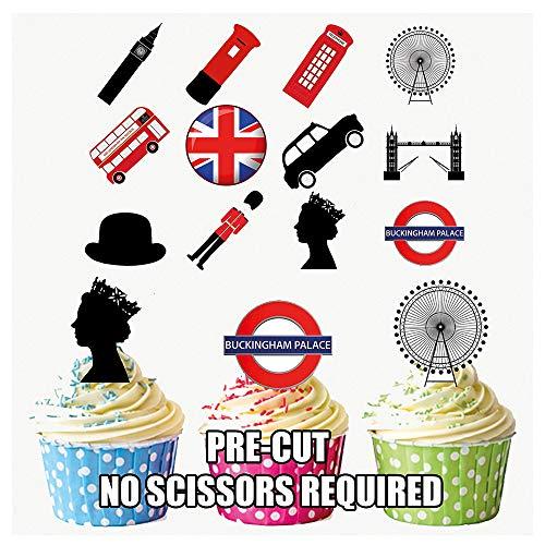 London Party Pack, Kuchen Dekorationen–36Essbar Stand-up Cupcake Topper