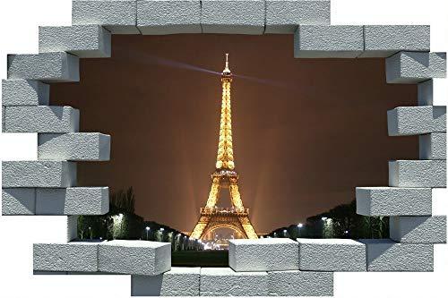 3D Gebrochene Ziegel Paris Eifell Tower Wandaufkleber Poster Wandtattoo Selbstklebende Pvc Wasserdicht Für Schlafzimmer Dekoration 50X70CM